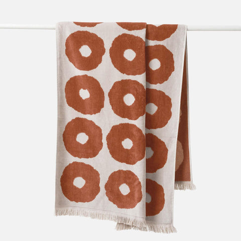 Etta Organic Cotton Bath Towel - Chestnut / Bone - 80 x 150 cm