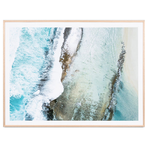 Natural timber framed aerial photographic coastal print of Esperance, Western Australia