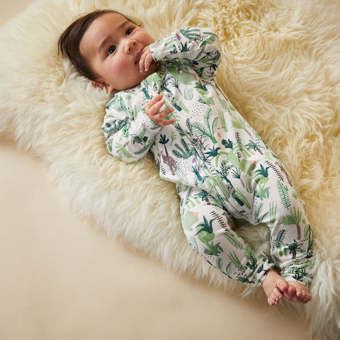 baby wearing Halcyon Nights Fern Gully - Baby Sleepsuit