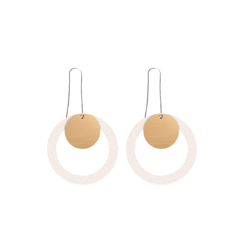 Flaxen Clay - Layered Circle Outline Long Drop Earrings