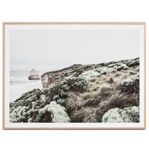 Natural timber framed print of a serene coastal scene of the Great Ocean Road