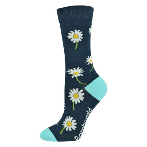 Daisy Womens Bamboo Socks - Navy
