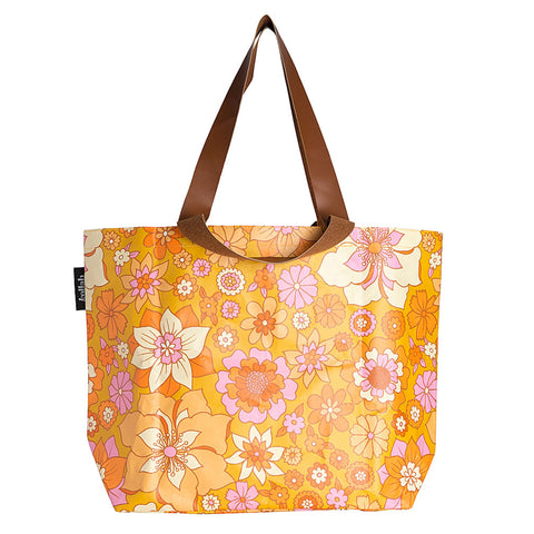Shopper Tote - Retro Mustard Floral