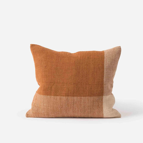 Chester Linen Cushion (Chestnut / Macaroon) - 55 x 45 cm
