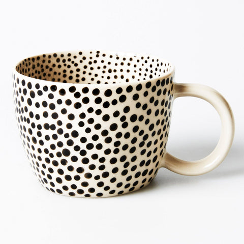Jones & Co Chino Mug with hand painted black speckle design on the inside & out