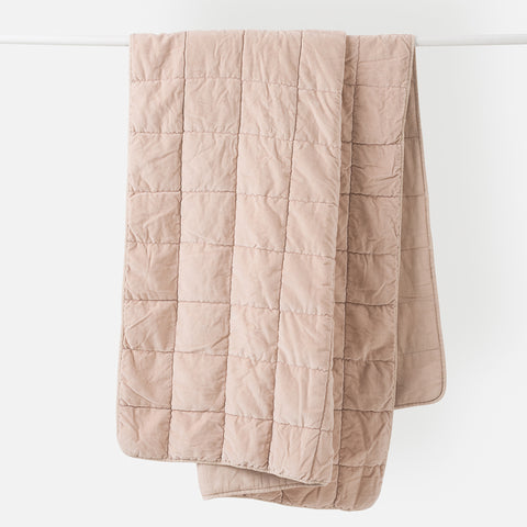 Washed Velvet Quilted Throw (Clay) - 130 x 180cm