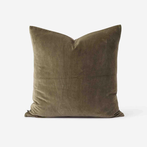 Cotton Velvet Cushion (Sage) - 55 x 55cm