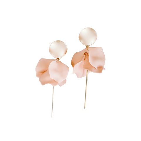 Esta Hanging Flowers Earring - Nude + Gold