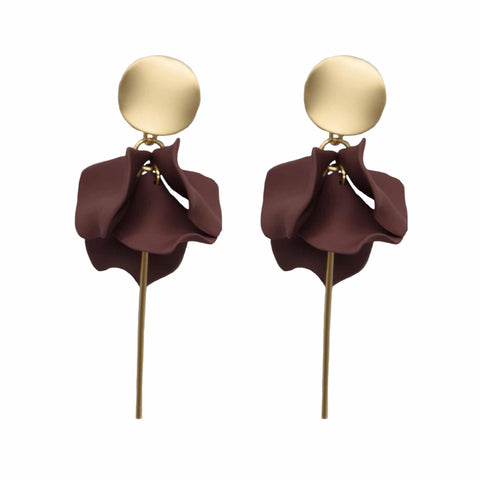 Esta Hanging Flowers Earring - Cocoa + Gold