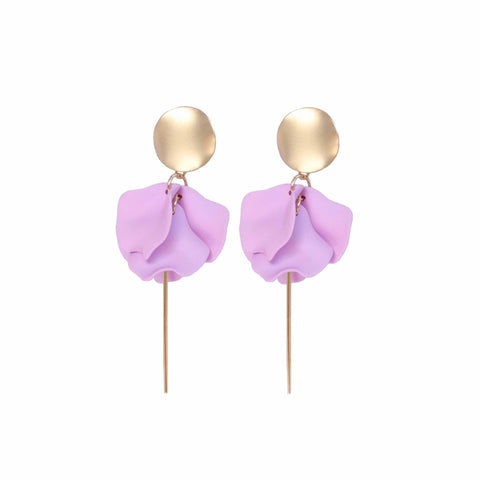 Esta Hanging Flowers Earring - Lilac + Gold