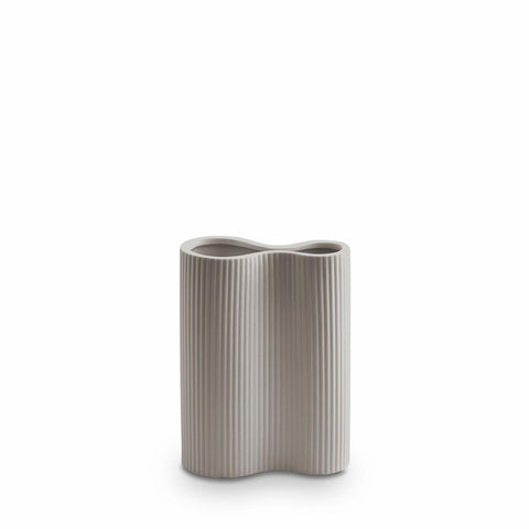 Ribbed Infinity Vase - Small - Light Grey