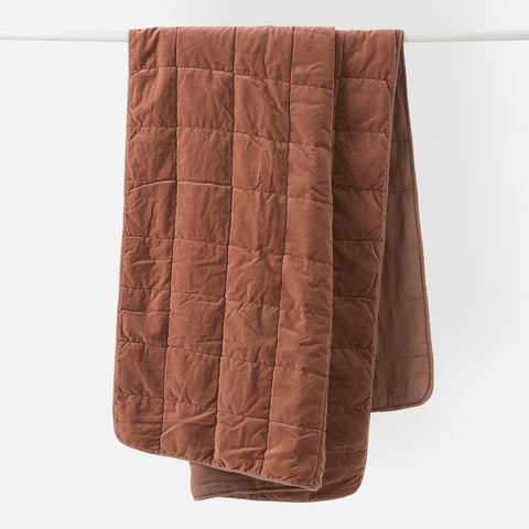 Washed Velvet Quilted Throw (Jam) - 130 x 180cm