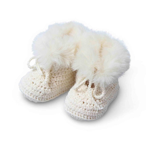 Pookie Cotton Faux Fur Booties - Ivory