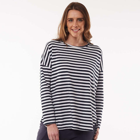Society Stripe Long Sleeve Tee - Navy & White Stripe
