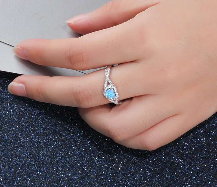 Blue Opal Ring, Heart Ring, 925 Sterling Silver Ring