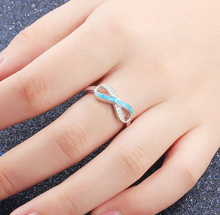 Blue Opal Ring, 925 Sterling Silver Ring, Infinity Ring
