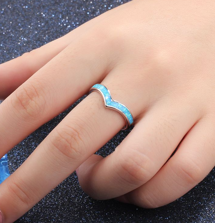 Blue Opal Ring, 925 Sterling Silver Ring
