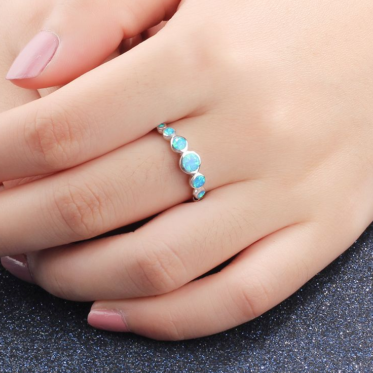 Blue Opal Ring, 925 Sterling Silver