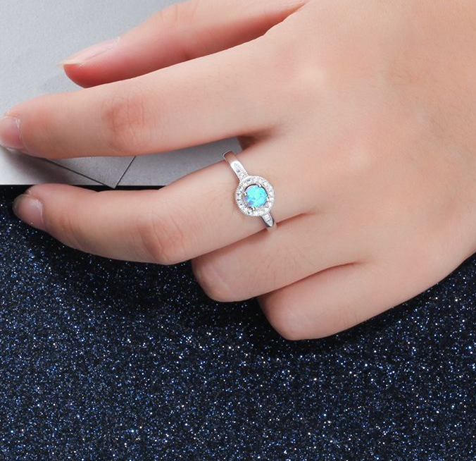 Blue Opal Ring, Halo Ring, 925 Sterling Silver Ring