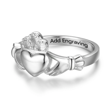 Personalised Ring, Sterling Silver Ring, Claddagh Ring, Promise Ring, Engraving, Personalized Jewelry, Jewellery