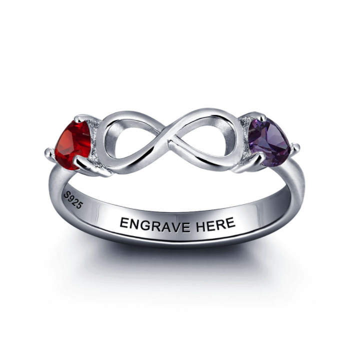 Personalised Ring, Sterling Silver Ring, Birthstone Ring, Infinity Ring, Heart Ring, Engraving, Personalized Jewelry, Jewellery