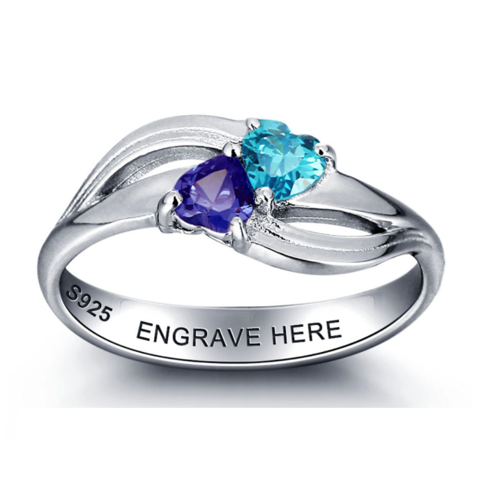 Personalised Ring, Heart Ring, Sterling Silver, Choose Birthstones and Engraving