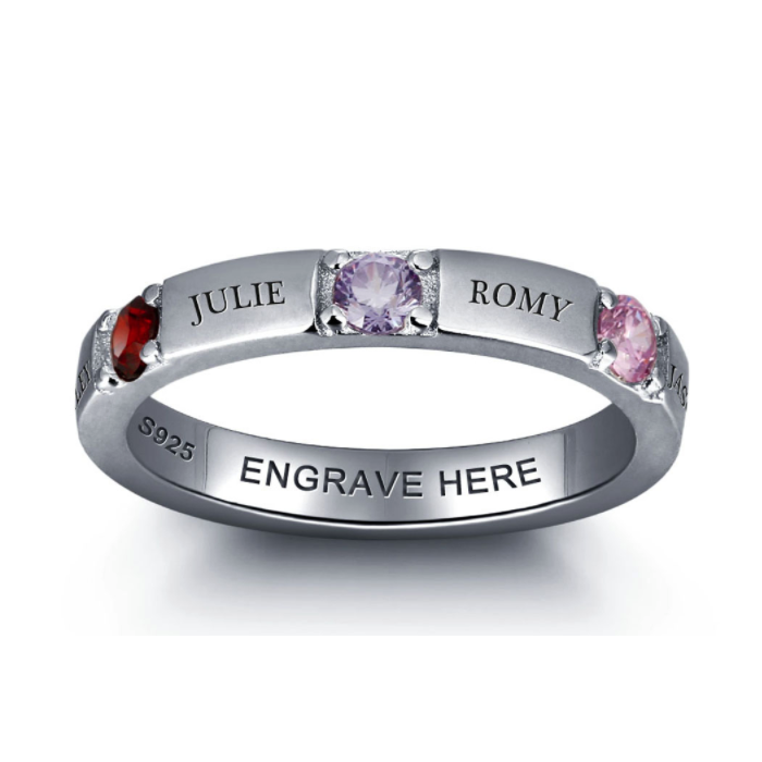Personalised Ring, Sterling Silver Ring, Birthstone Ring, Promise Ring, Engraving, Names, Personalized Jewelry, Jewellery