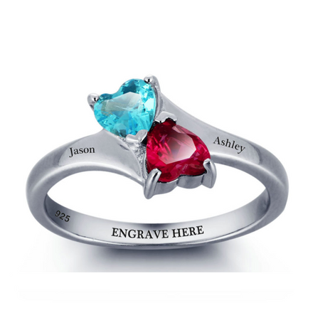 Personalised Ring, Sterling Silver Ring, Birthstone Ring, Heart Ring, Promise Ring, Engraving, Personalized Jewelry, Jewellery