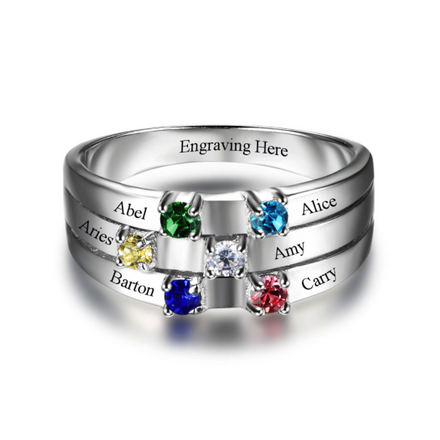Personalised Ring, Sterling Silver Ring, Birthstone Ring, Mothers Ring, Family Ring, Engraving, Personalized Jewelry, Jewellery