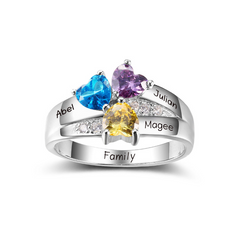 Personalised Ring, Sterling Silver Ring, Birthstone Ring, Heart Ring, Promise Ring, Engraving, Names, Personalized Jewelry, Jewellery