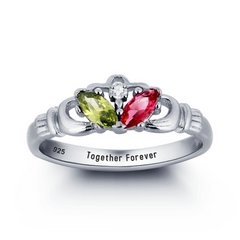 Personalised Ring, Sterling Silver Ring, Birthstone Ring, Claddagh Ring, Promise Ring, Engraving, Personalized Jewelry, Jewellery
