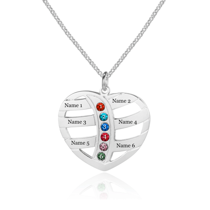 Personalised Necklace, Sterling Silver Necklace, Birthstone Necklace, Name Necklace, Family Necklace, Mom Necklace, Heart Necklace, Engraving, Personalized Jewelry, Jewellery