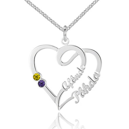 Personalised Necklace, Sterling Silver Necklace, Birthstone Necklace, Heart Necklace, Name Necklace, Engraving, Personalized Jewelry, Jewellery