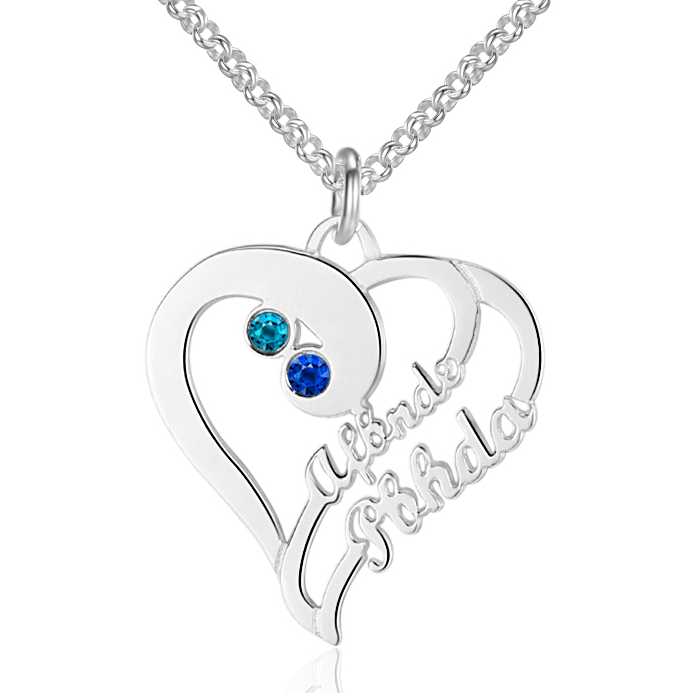 Personalised Necklace, Sterling Silver Necklace, Birthstone Necklace, Name Necklace, Heart Necklace, Engraving, Personalized Jewelry, Jewellery