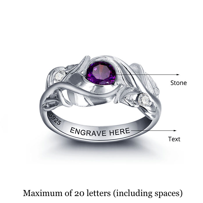 Personalised Ring, Sterling Silver Ring, Birthstone Ring, Unique Ring, Promise Ring, Engraving, Personalized Jewelry, Jewellery