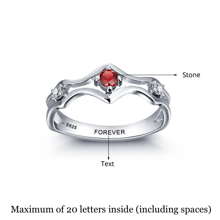Personalised Ring, Sterling Silver Ring, Birthstone Ring, Promise Ring, Engraving, Personalized Jewelry, Jewellery
