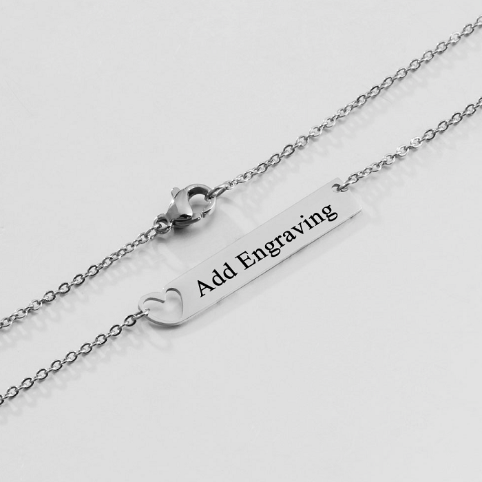 Personalised Necklace, Stainless Steel Necklace, Name Necklace, Heart Necklace, Engraving, Personalized Jewelry, Jewellery