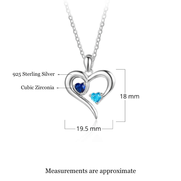 Personalised Necklace, Sterling Silver Necklace, Birthstone Necklace, Heart Necklace, Engraving, Personalized Jewelry, Jewellery