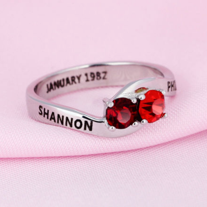 Personalised Ring, Sterling Silver Ring, Birthstone Ring, Promise Ring, Engraving, Names, Personalised Jewelry, Jewellery