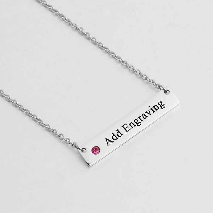 Bar Necklace, Personalised Necklace, Stainless Steel Necklace, Name Necklace, Birthstone Necklace, Engraving, Personalized Jewelry, Jewellery