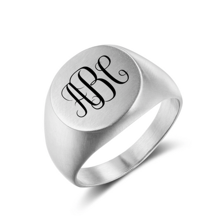 Ring, Signet Ring, Monogram Ring, Mens Ring, Stainless Steel Ring, ID Ring, Personalised Ring, Jewellery, Personalized Jewelry