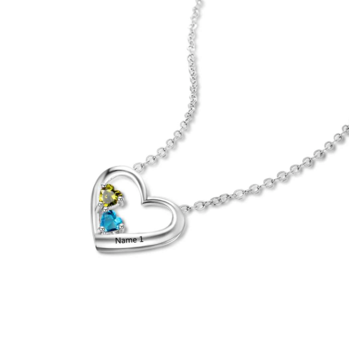 c5bd603785bae Double Birthstone Heart & Name Necklace - 925 Sterling Silver