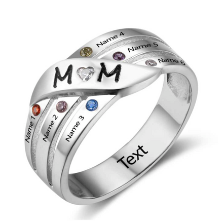 Personalised Ring, Sterling Silver Ring, Birthstone Ring, Mom Ring, Mum Ring, Mothers Ring, Family Ring, Engraving, Personalized Jewelry, Jewellery