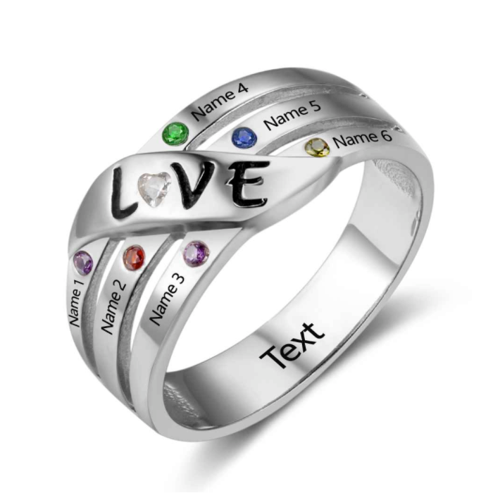 Personalised Ring, Sterling Silver Ring, Birthstone Ring, Family Ring, Mothers Ring, Love Ring, Heart Ring, Engraving, Personalized Jewelry, Jewellery