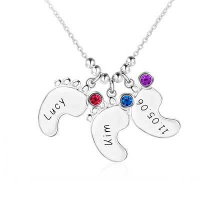 Personalised Necklace, Sterling Silver Necklace, Birthstone Necklace, Baby Feet Necklace, Engraving, Personalized Jewelry, Jewellery
