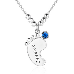 Personalised Necklace, Sterling Silver Necklace, Birthstone Necklace, Baby Foot Necklace, Engraving, Personalized Jewelry, Jewellery