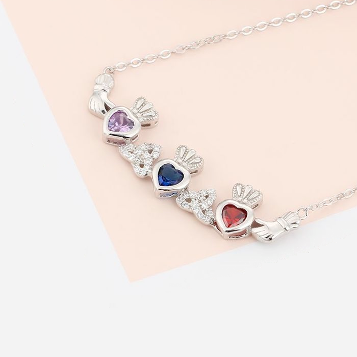 Personalised Necklace, Sterling Silver Necklace, Birthstone Necklace, Heart Necklace, Claddagh Necklace, Engraving, Personalized Jewelry, Jewellery