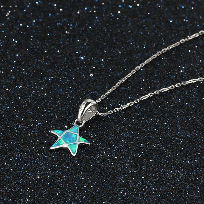 Necklaces, Opal Necklace, Starfish Necklace, Blue Opal, Created Opal, Sterling Silver, Jewellery, Jewelry
