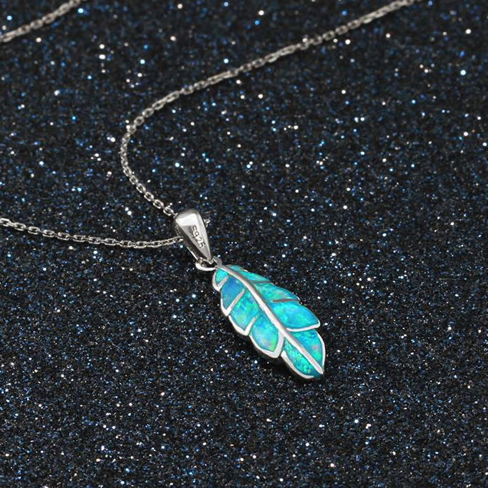 Necklaces, Opal Necklace, Leaf Necklace, Blue Opal, Created Opal, Sterling Silver, Jewellery, Jewelry