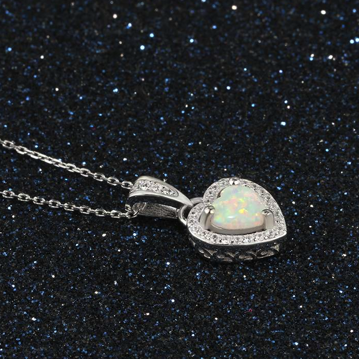 Necklaces, Opal Necklace, Heart Necklace, White Opal, Created Opal, Sterling Silver, Jewellery, Jewelry